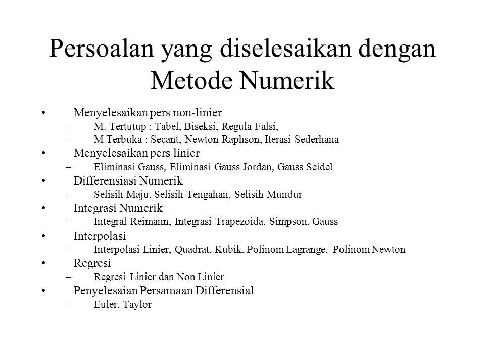 Persoalan yang diselesaikan dengan Metode Numerik