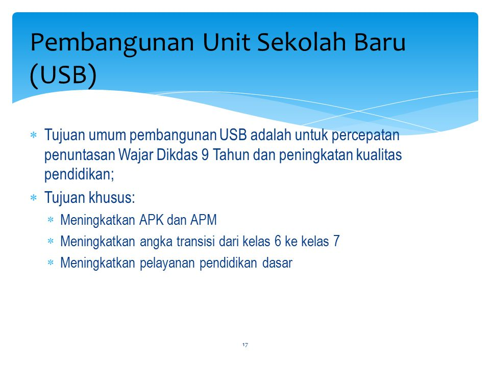 Pembangunan Unit Sekolah Baru (USB)