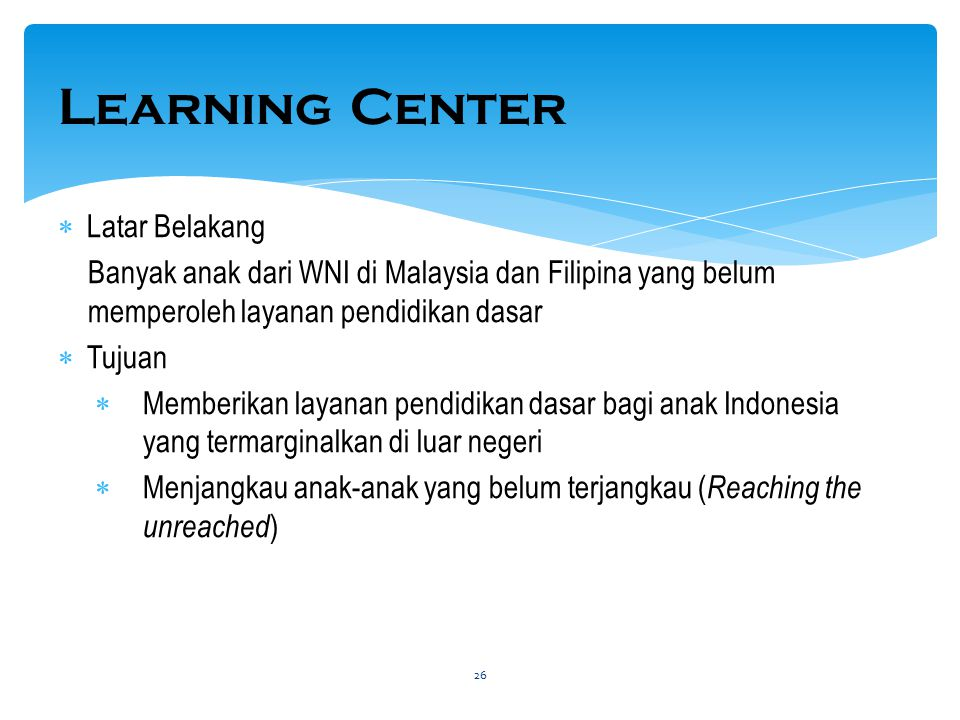 Learning Center Latar Belakang