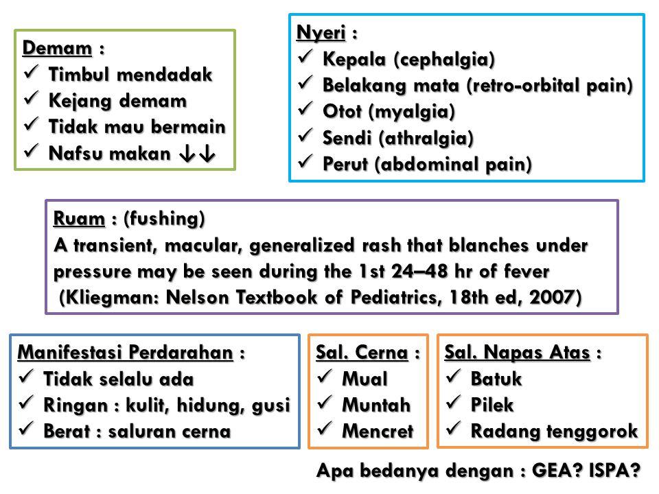 Nyeri : Kepala (cephalgia) Belakang mata (retro-orbital pain) Otot (myalgia) Sendi (athralgia) Perut (abdominal pain)