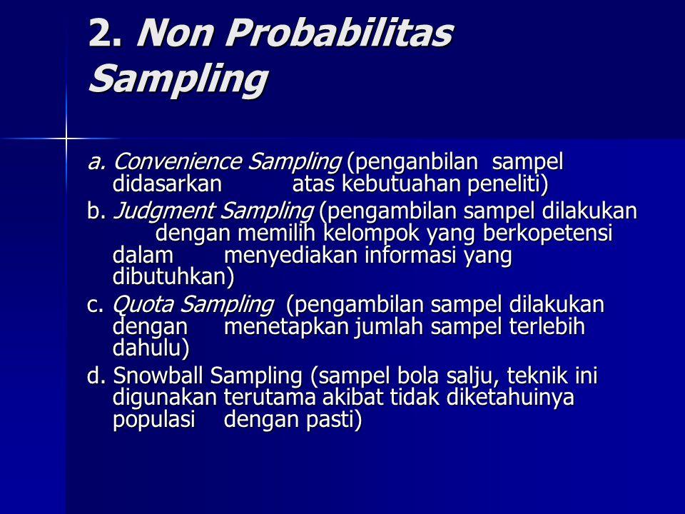 2. Non Probabilitas Sampling