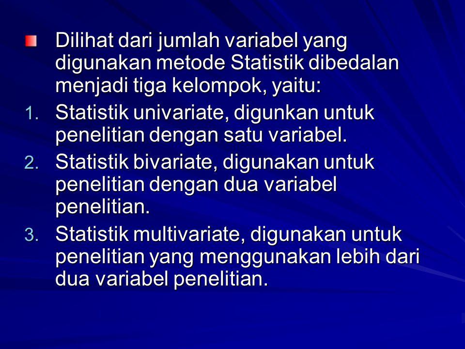 Dilihat dari jumlah variabel yang digunakan metode Statistik dibedalan menjadi tiga kelompok, yaitu: