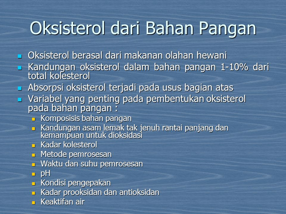 Oksisterol dari Bahan Pangan