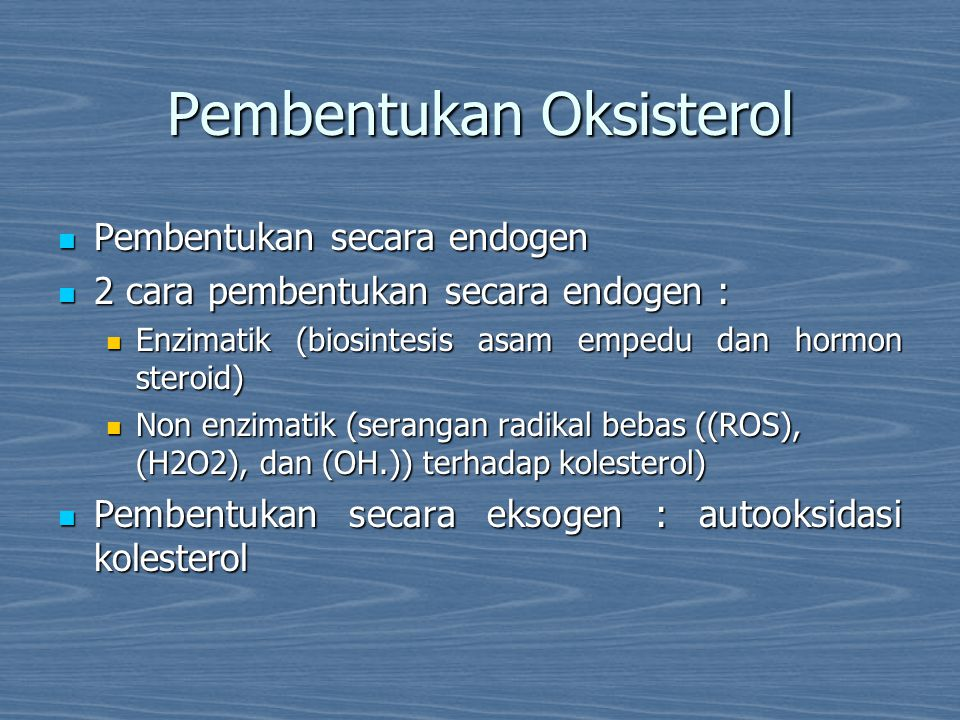 Pembentukan Oksisterol