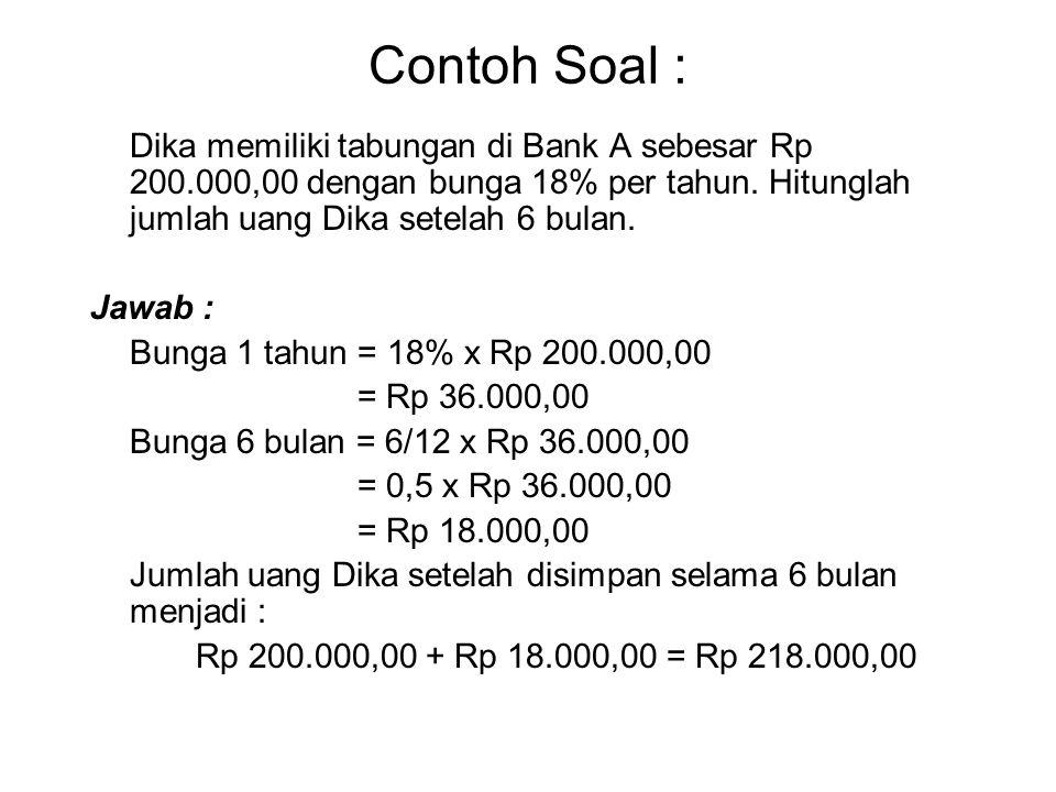 Contoh Soal : Dika memiliki tabungan di Bank A sebesar Rp 200.000,00 dengan bunga 18% per tahun. Hitunglah jumlah uang Dika setelah 6 bulan.