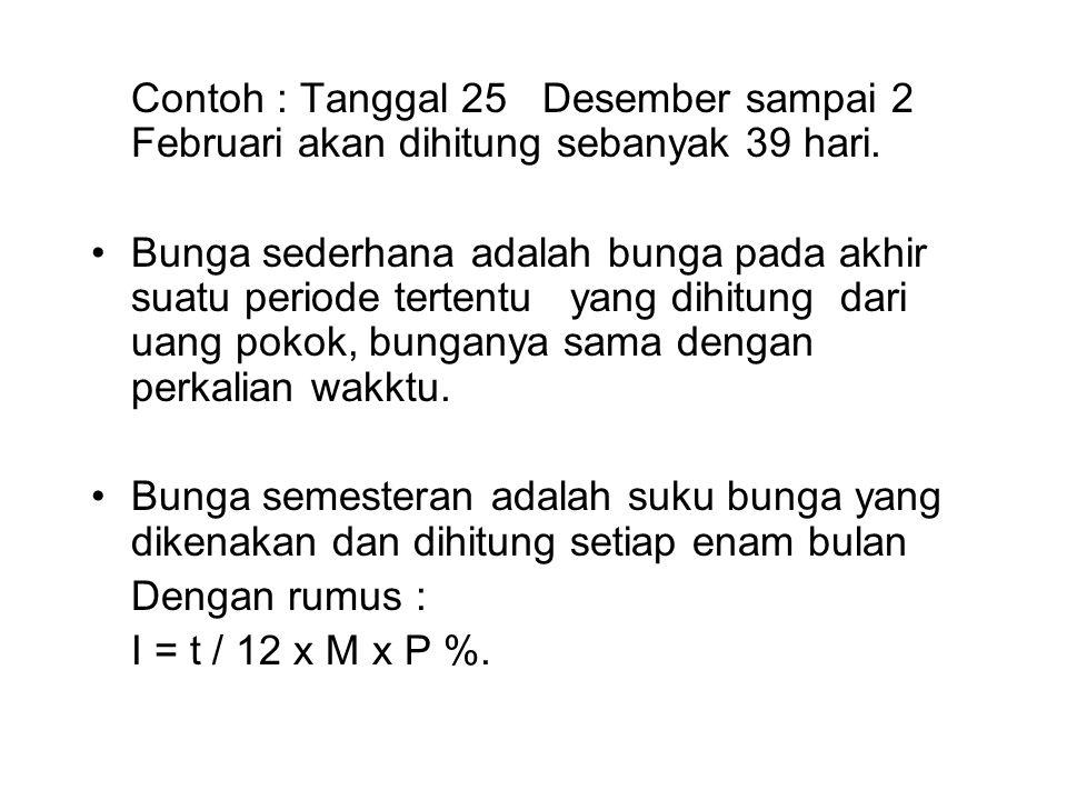 Contoh : Tanggal 25 Desember sampai 2 Februari akan dihitung sebanyak 39 hari.