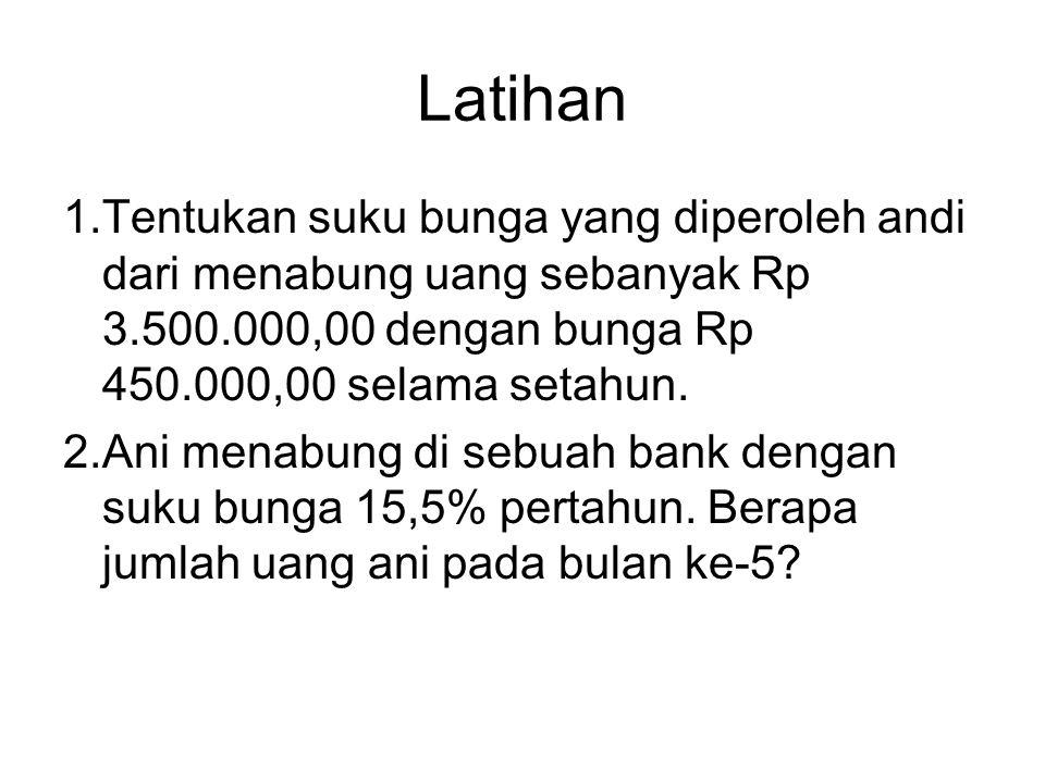 Latihan Tentukan suku bunga yang diperoleh andi dari menabung uang sebanyak Rp 3.500.000,00 dengan bunga Rp 450.000,00 selama setahun.