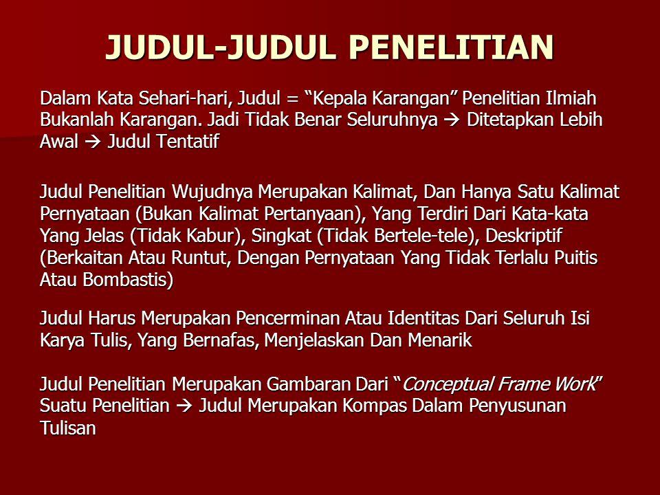 JUDUL-JUDUL PENELITIAN