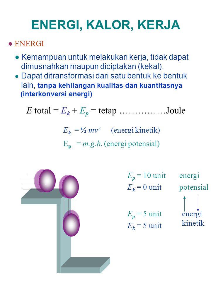ENERGI, KALOR, KERJA E total = Ek + Ep = tetap ……………Joule ● ENERGI