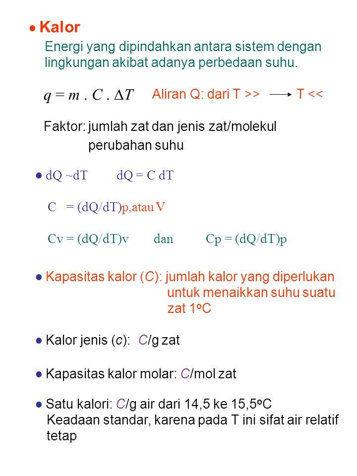 ● Kalor Energi yang dipindahkan antara sistem dengan lingkungan akibat adanya perbedaan suhu. q = m . C . ∆T.