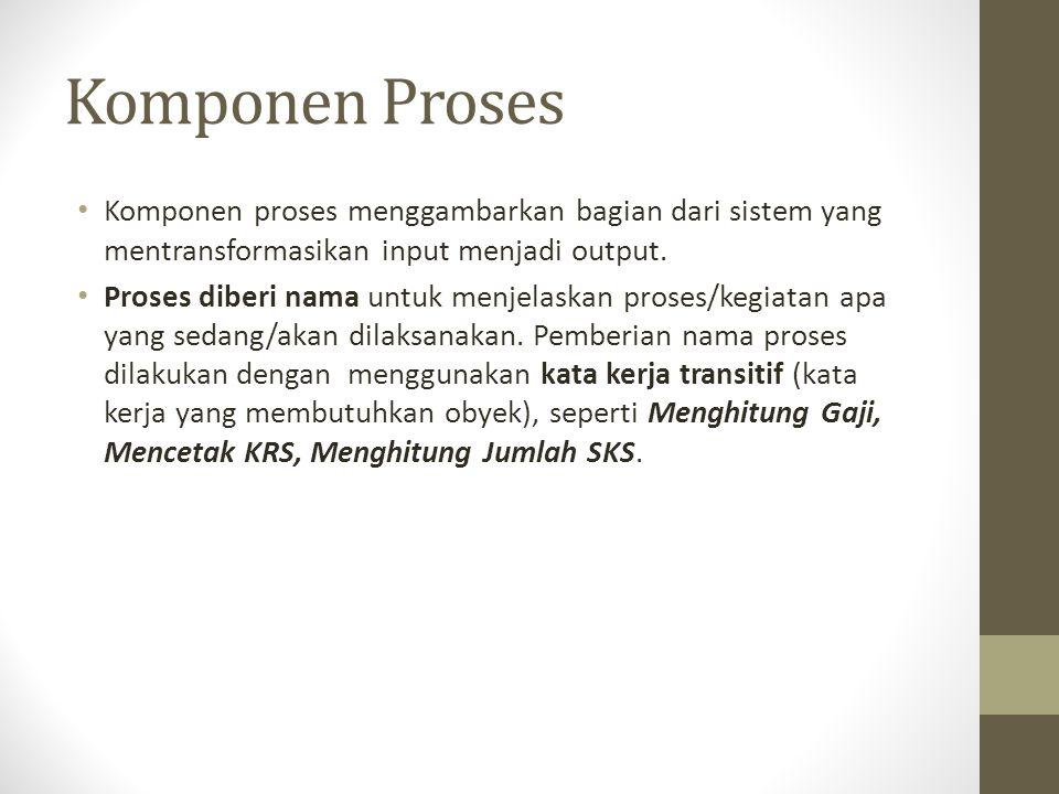 Komponen Proses Komponen proses menggambarkan bagian dari sistem yang mentransformasikan input menjadi output.