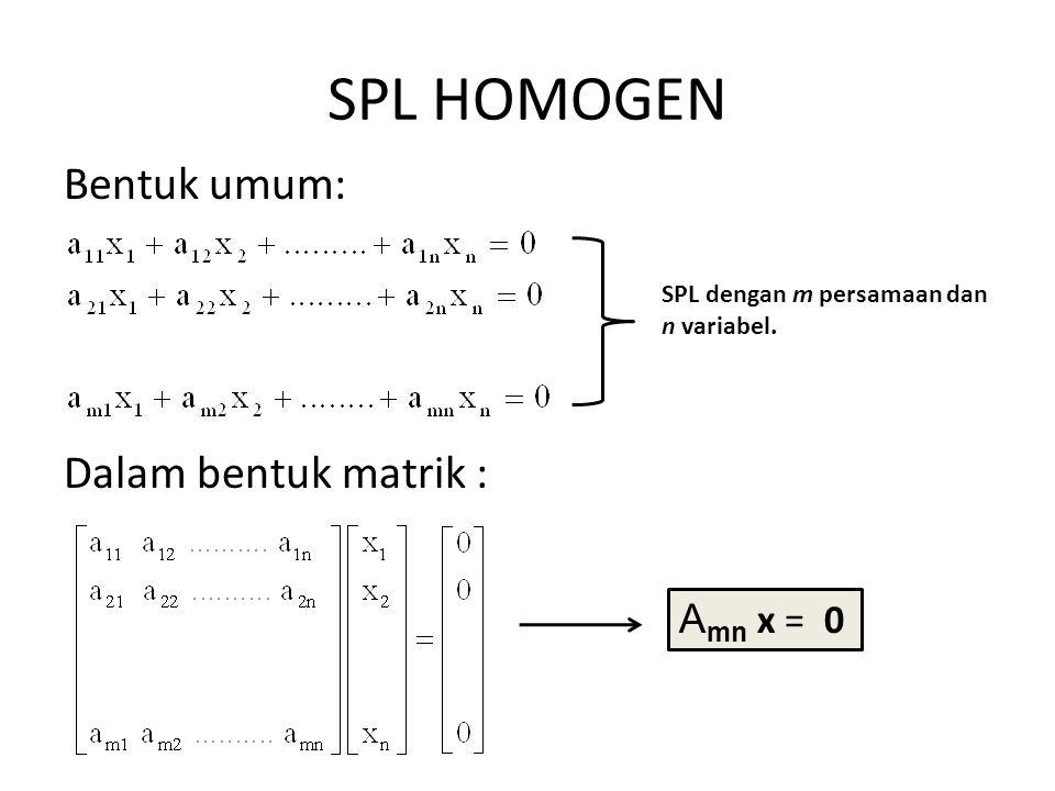 SPL HOMOGEN Bentuk umum: Dalam bentuk matrik : Amn x = 0