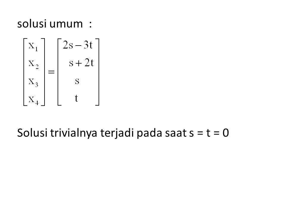 solusi umum : Solusi trivialnya terjadi pada saat s = t = 0