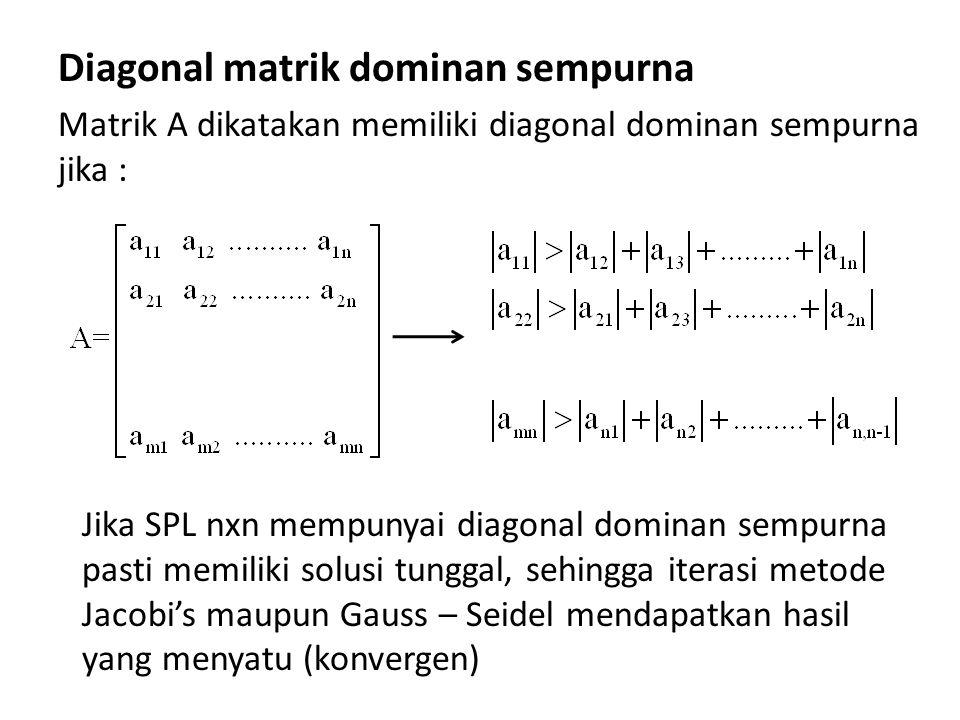 Diagonal matrik dominan sempurna