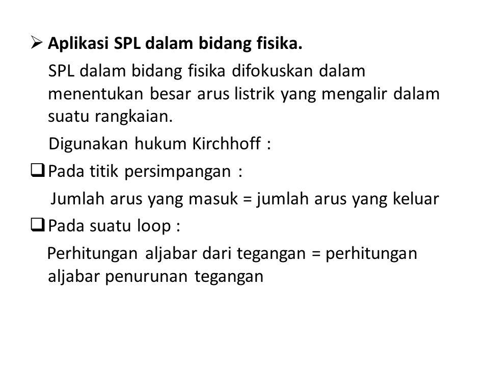Aplikasi SPL dalam bidang fisika.