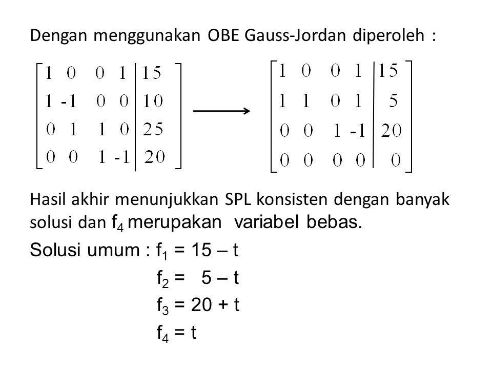 Dengan menggunakan OBE Gauss-Jordan diperoleh :