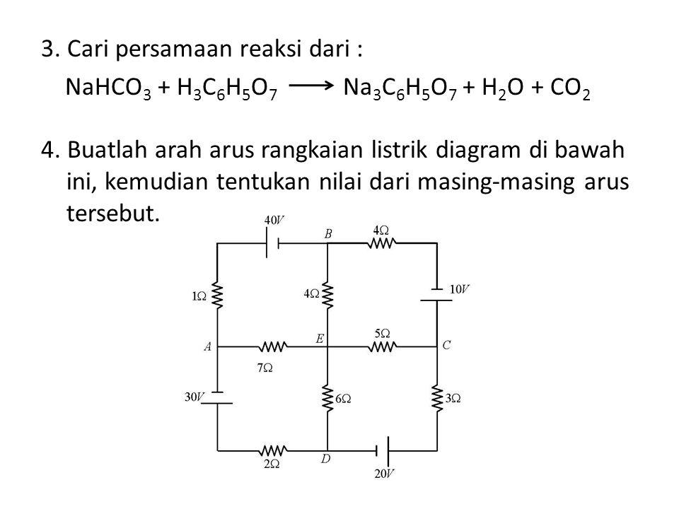 3. Cari persamaan reaksi dari : NaHCO3 + H3C6H5O7 Na3C6H5O7 + H2O + CO2 4.