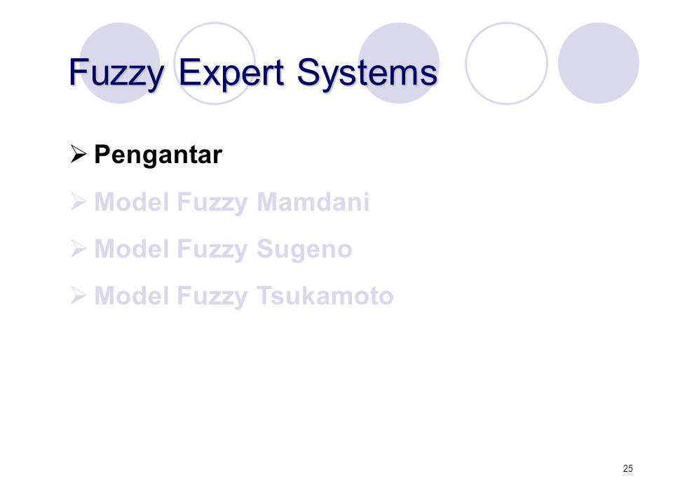 Fuzzy Expert Systems Pengantar Model Fuzzy Mamdani Model Fuzzy Sugeno