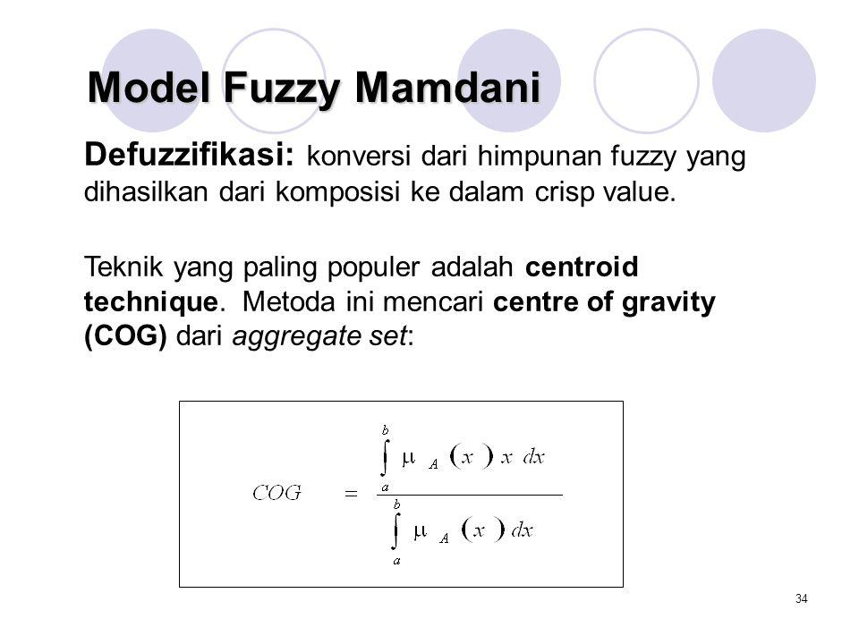 Model Fuzzy Mamdani Defuzzifikasi: konversi dari himpunan fuzzy yang dihasilkan dari komposisi ke dalam crisp value.