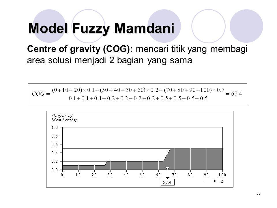Model Fuzzy Mamdani Centre of gravity (COG): mencari titik yang membagi area solusi menjadi 2 bagian yang sama.