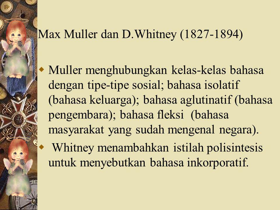 Max Muller dan D.Whitney (1827-1894)
