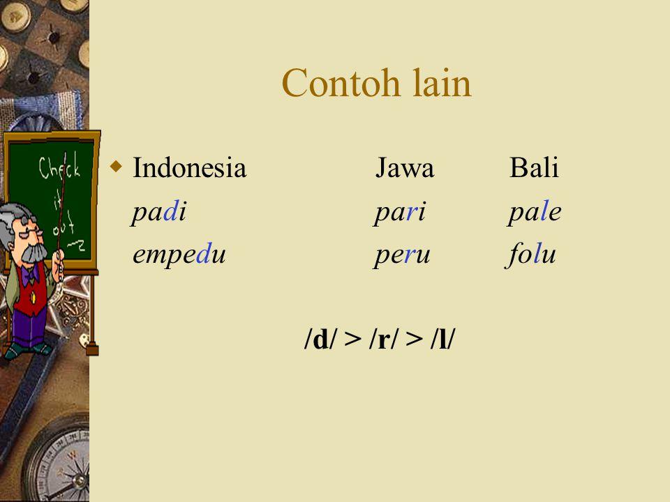 Contoh lain Indonesia Jawa Bali padi pari pale empedu peru folu