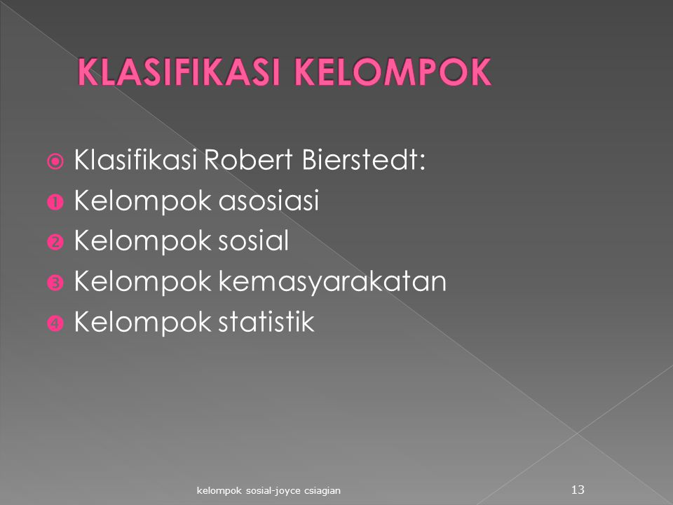 KLASIFIKASI KELOMPOK Klasifikasi Robert Bierstedt: Kelompok asosiasi
