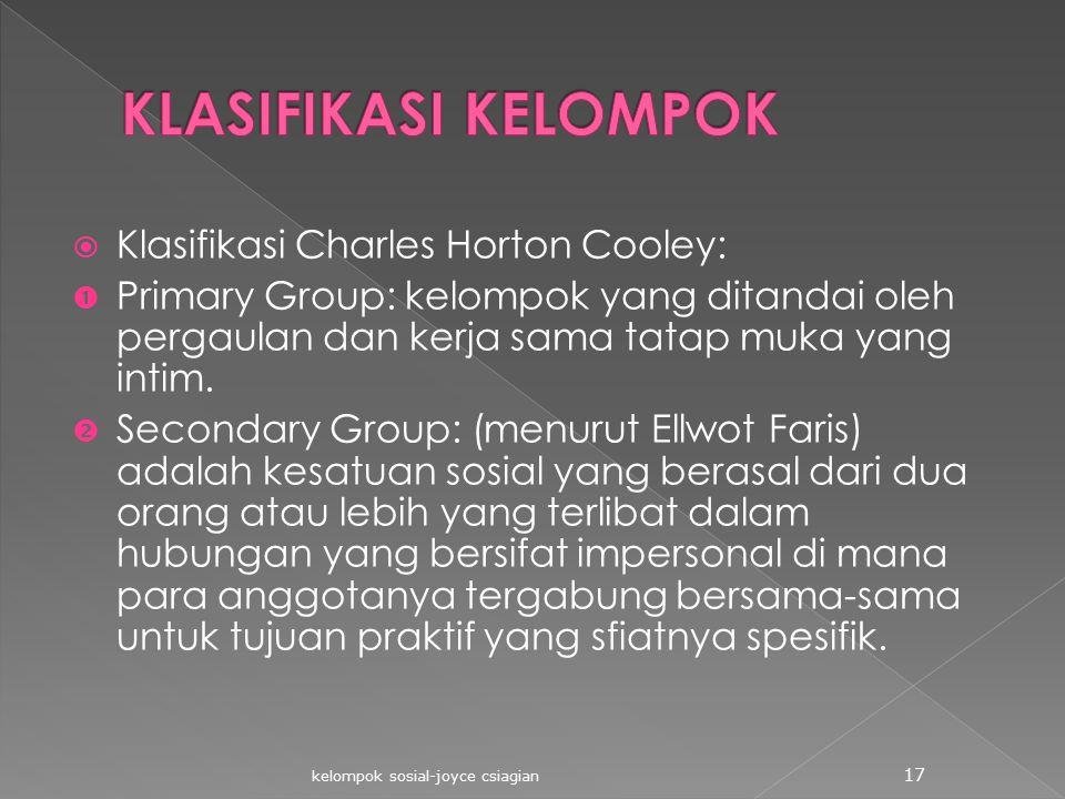 KLASIFIKASI KELOMPOK Klasifikasi Charles Horton Cooley: