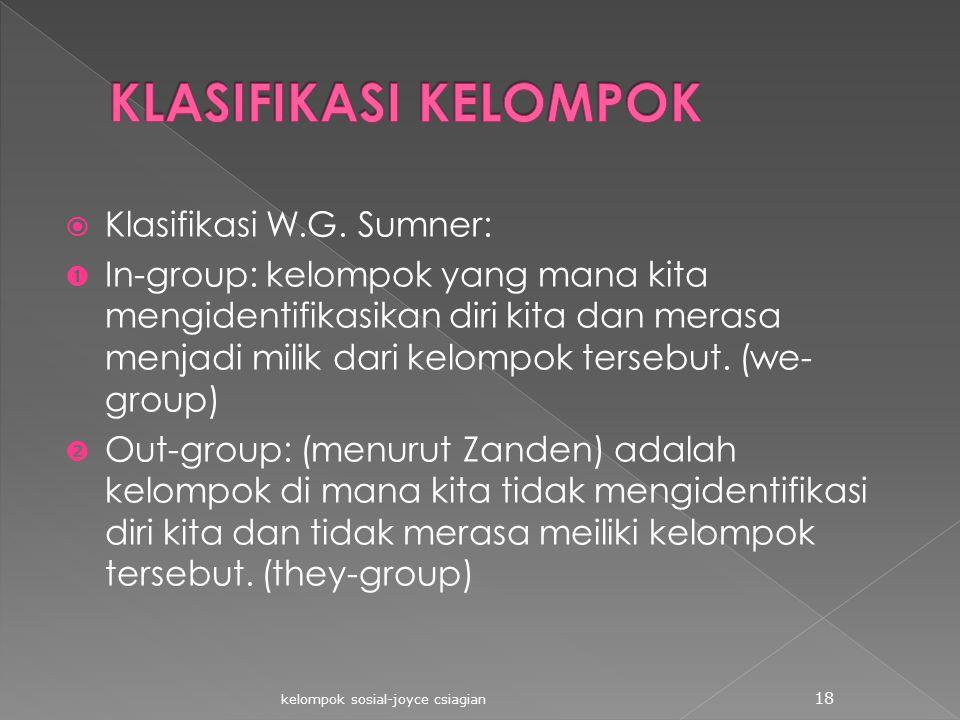 KLASIFIKASI KELOMPOK Klasifikasi W.G. Sumner: