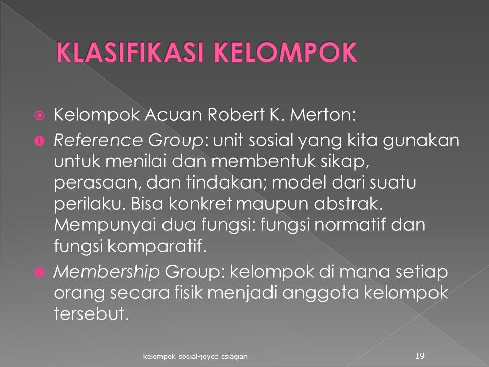 KLASIFIKASI KELOMPOK Kelompok Acuan Robert K. Merton: