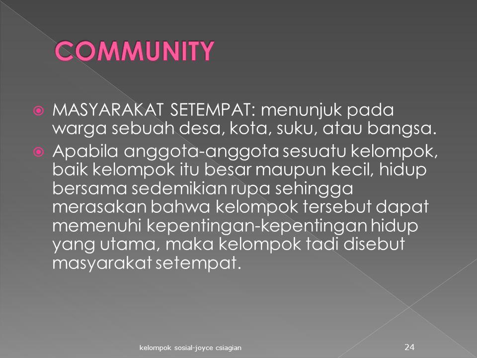 COMMUNITY MASYARAKAT SETEMPAT: menunjuk pada warga sebuah desa, kota, suku, atau bangsa.