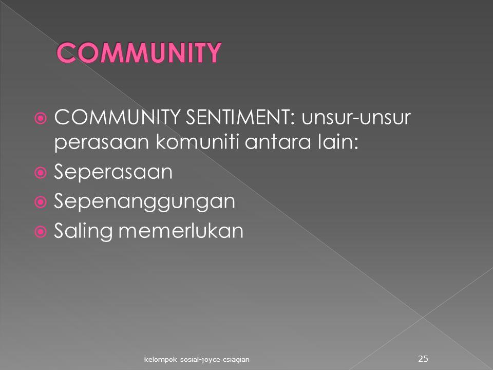 COMMUNITY COMMUNITY SENTIMENT: unsur-unsur perasaan komuniti antara lain: Seperasaan. Sepenanggungan.