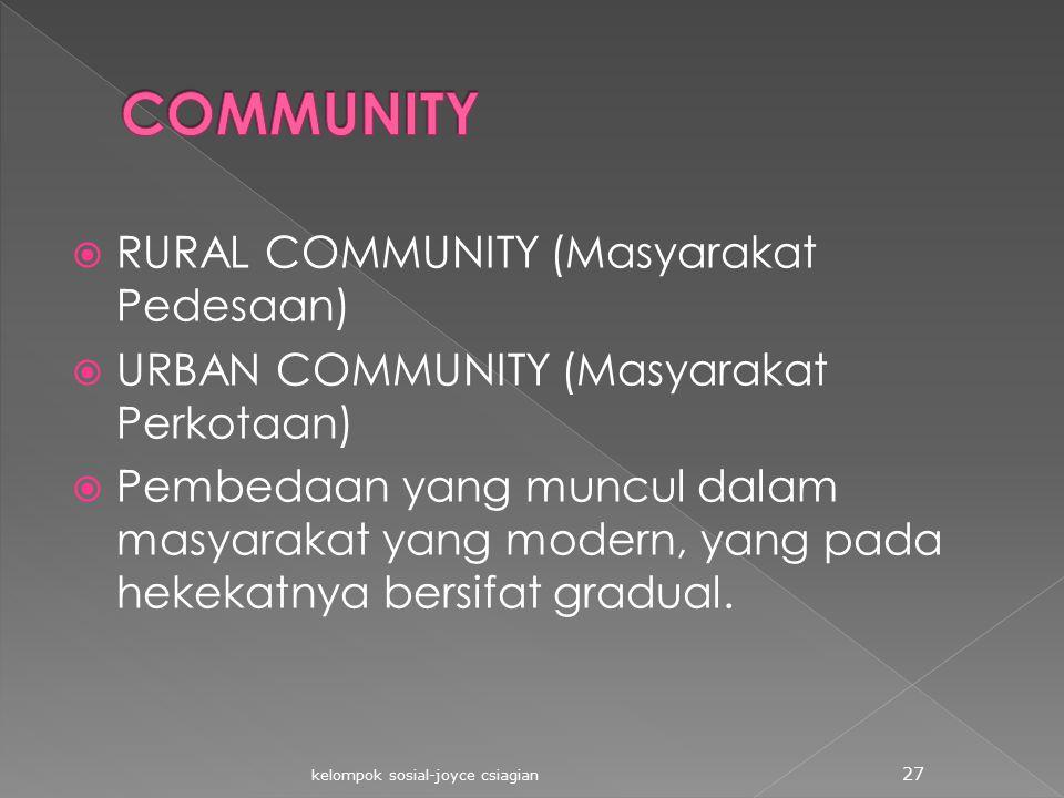 COMMUNITY RURAL COMMUNITY (Masyarakat Pedesaan)