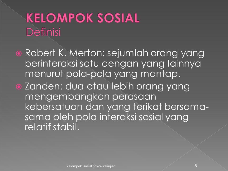 KELOMPOK SOSIAL Definisi