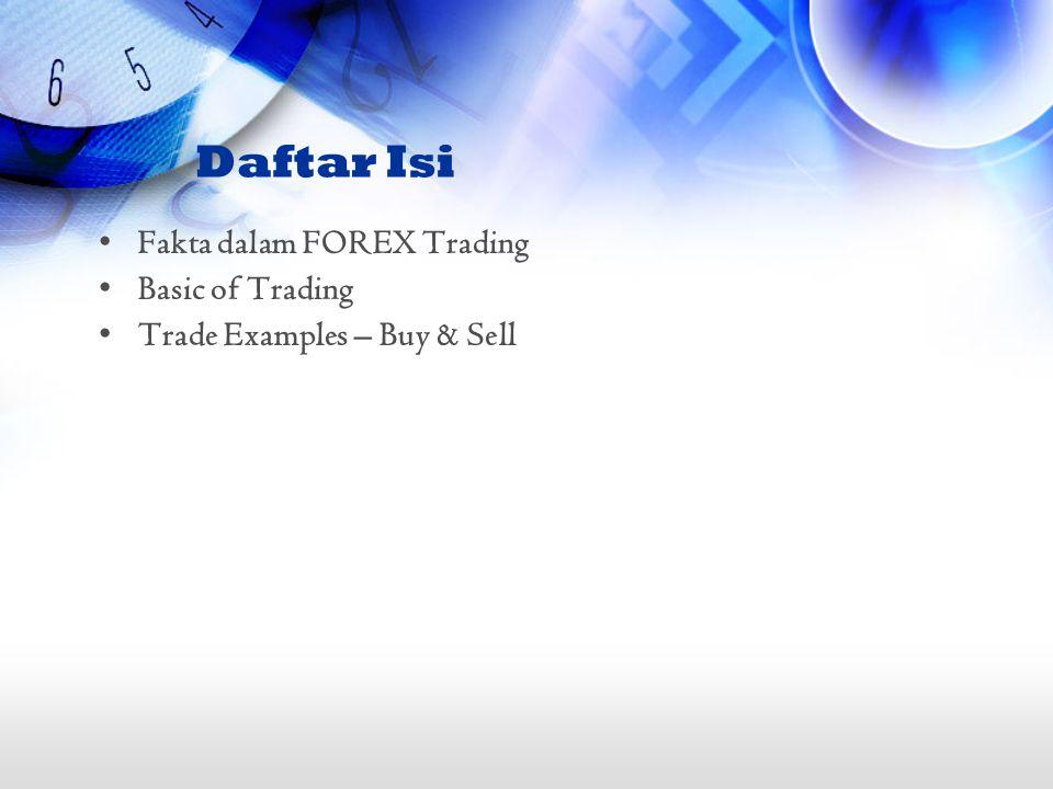 Daftar Isi Fakta dalam FOREX Trading Basic of Trading