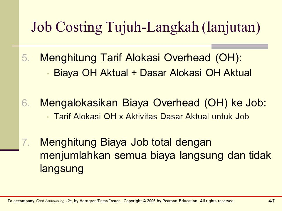 Job Costing Tujuh-Langkah (lanjutan)