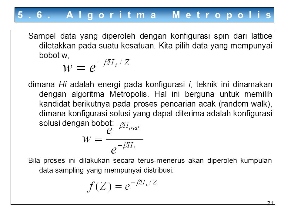 5.6. Algoritma Metropolis