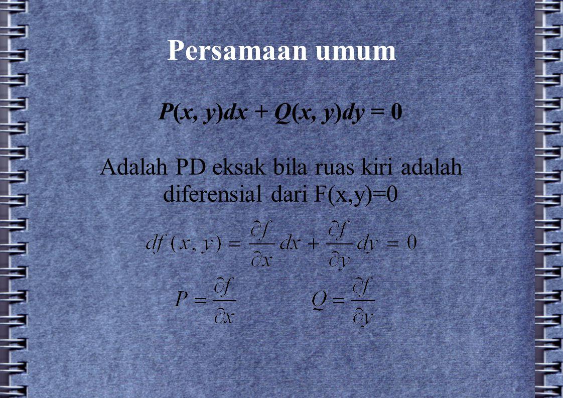 Adalah PD eksak bila ruas kiri adalah diferensial dari F(x,y)=0