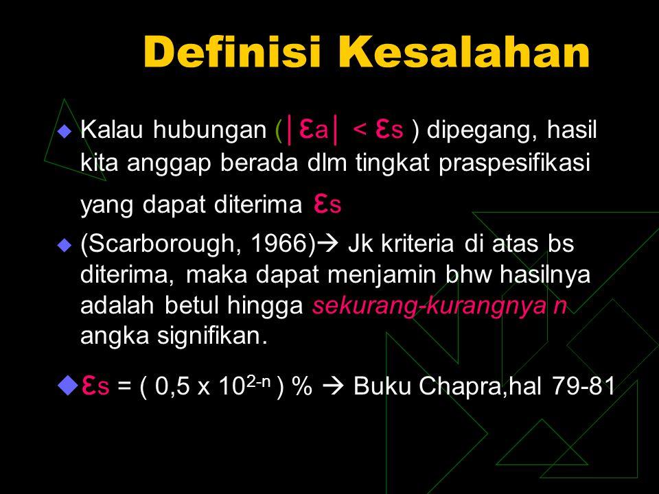 Definisi Kesalahan εs = ( 0,5 x 102-n ) %  Buku Chapra,hal 79-81