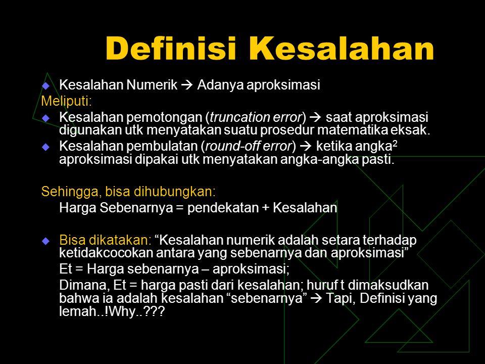 Definisi Kesalahan Kesalahan Numerik  Adanya aproksimasi Meliputi: