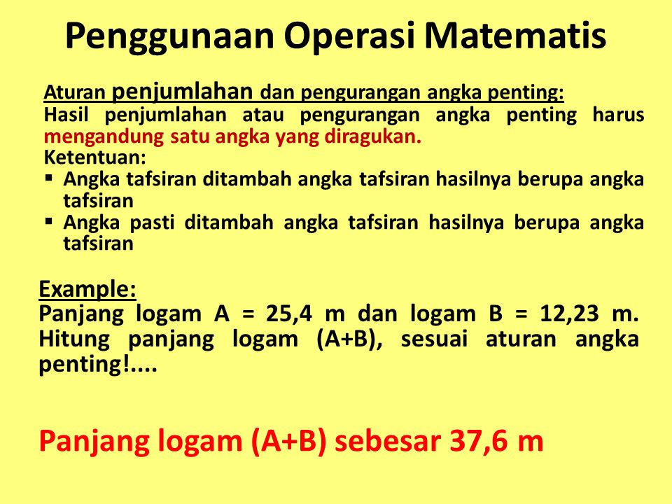 Penggunaan Operasi Matematis