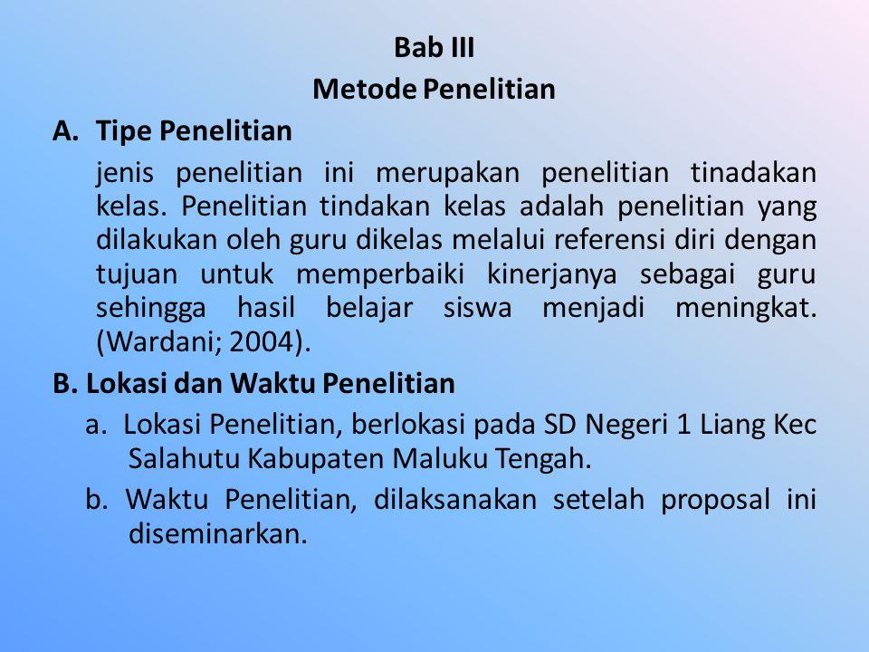 Bab III Metode Penelitian. Tipe Penelitian.