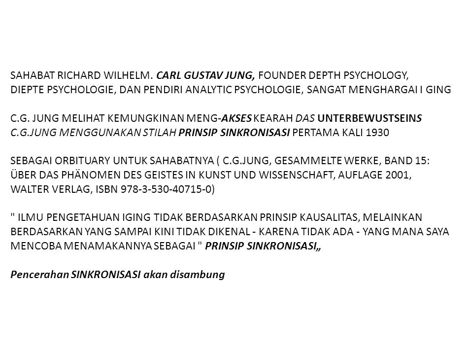 SAHABAT RICHARD WILHELM. CARL GUSTAV JUNG, FOUNDER DEPTH PSYCHOLOGY,