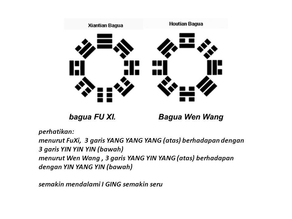 perhatikan: menurut FuXi, 3 garis YANG YANG YANG (atas) berhadapan dengan 3 garis YIN YIN YIN (bawah)
