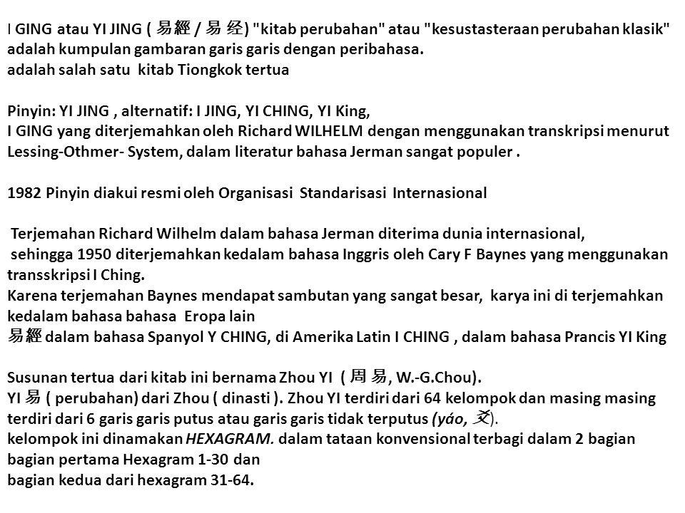 I GING atau YI JING ( 易經 / 易 经) kitab perubahan atau kesustasteraan perubahan klasik adalah kumpulan gambaran garis garis dengan peribahasa.