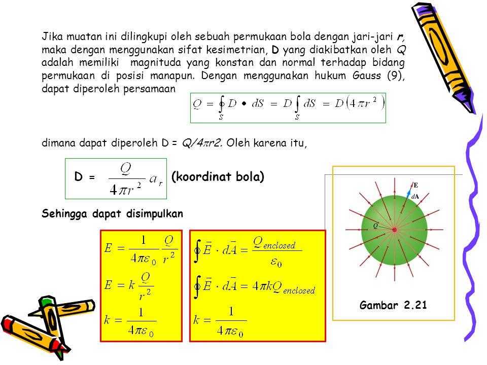 Jika muatan ini dilingkupi oleh sebuah permukaan bola dengan jari-jari r, maka dengan menggunakan sifat kesimetrian, D yang diakibatkan oleh Q adalah memiliki magnituda yang konstan dan normal terhadap bidang permukaan di posisi manapun. Dengan menggunakan hukum Gauss (9), dapat diperoleh persamaan