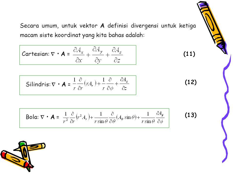 Secara umum, untuk vektor A definisi divergensi untuk ketiga macam siste koordinat yang kita bahas adalah: