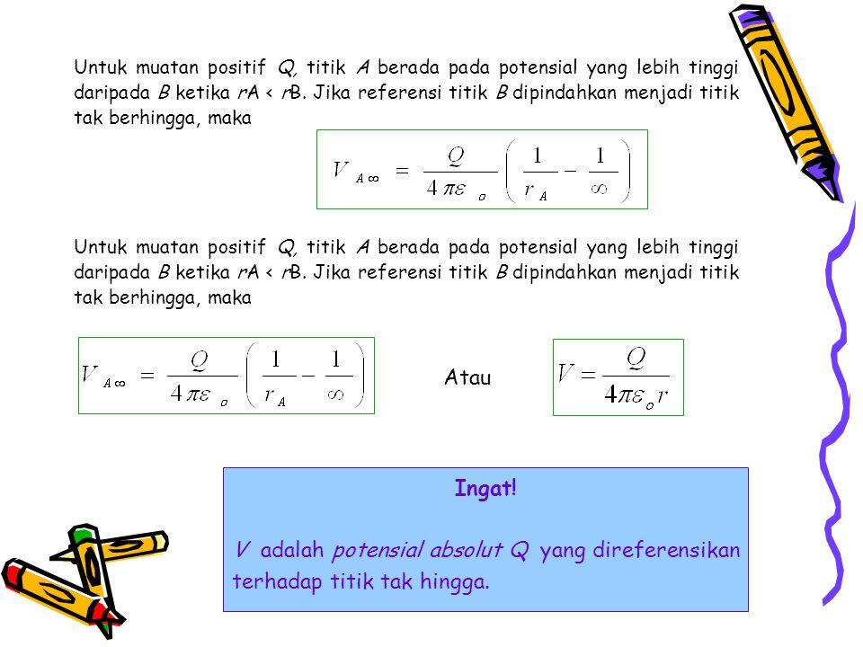Untuk muatan positif Q, titik A berada pada potensial yang lebih tinggi daripada B ketika rA < rB. Jika referensi titik B dipindahkan menjadi titik tak berhingga, maka