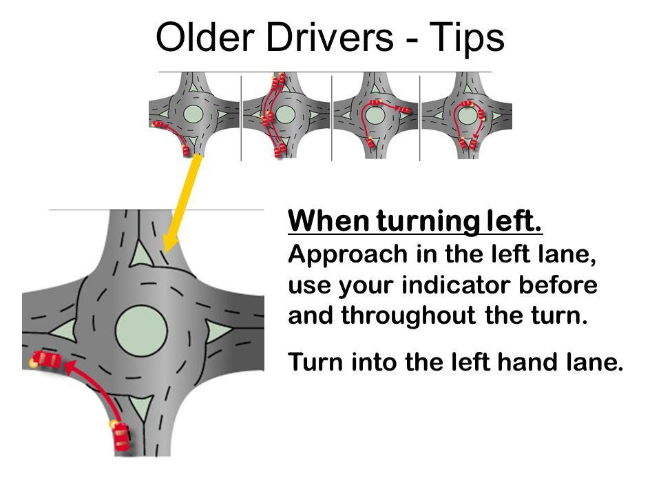 Older Drivers - Tips When turning left. Approach in the left lane, use your indicator before and throughout the turn.