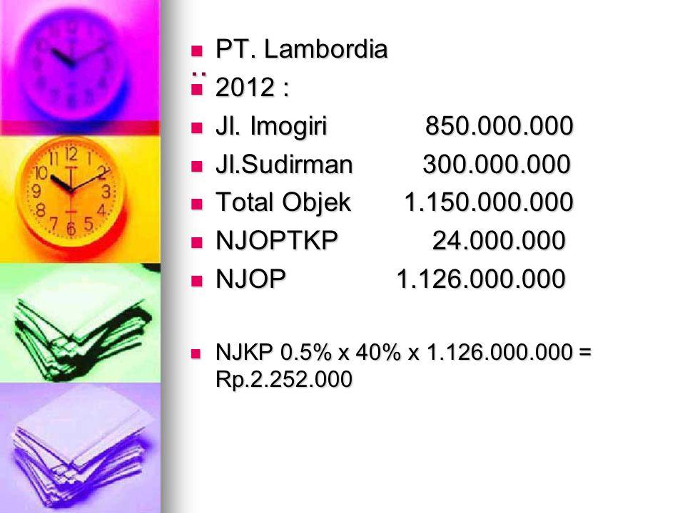 .. PT. Lambordia 2012 : Jl. Imogiri 850.000.000